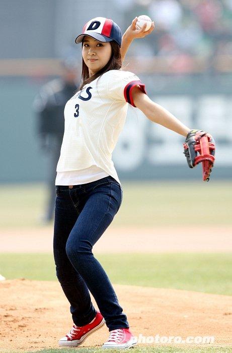 Yuri throwing the ball