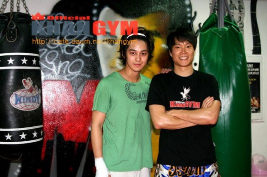 Kim Bum and the trainer (i think)