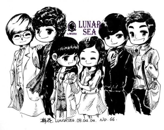 Boys Before Flower Caricature..